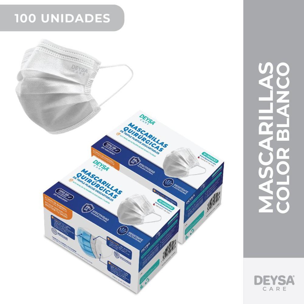 Mascarillas Desechables 50 Un 2 Cajas (100 Un). Color Blanco 2 Cajas de 50 unidades c/u (100 un)
