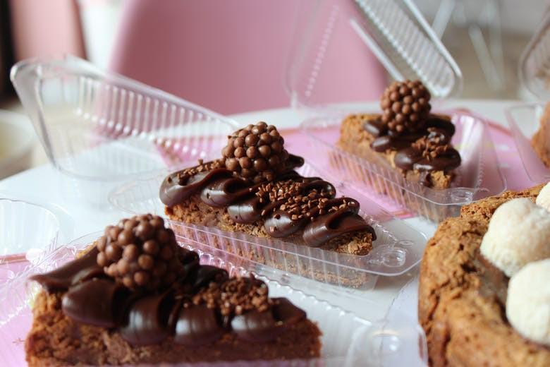 Slices of brownie cake - brigadeiro