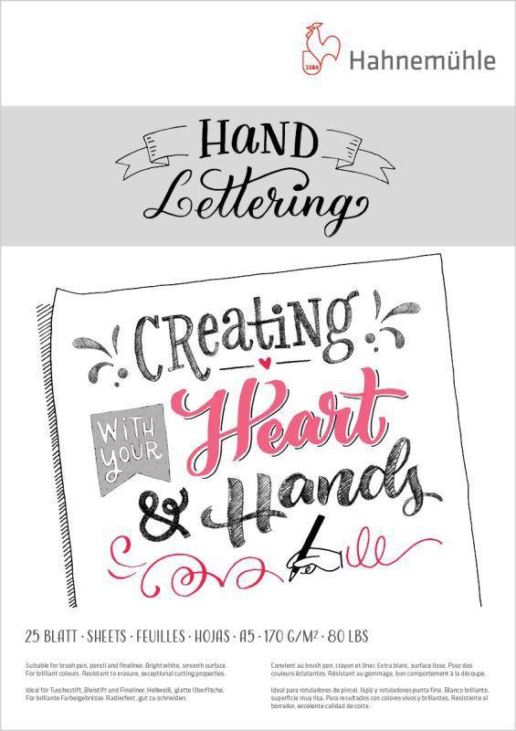 Block  pequeño hand lettering hahnemuhle 170gr 25hjs 15 x 21 cm A5