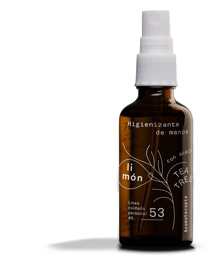 Higienizante de manos limon tea tree Envase de vidrio 50 ml