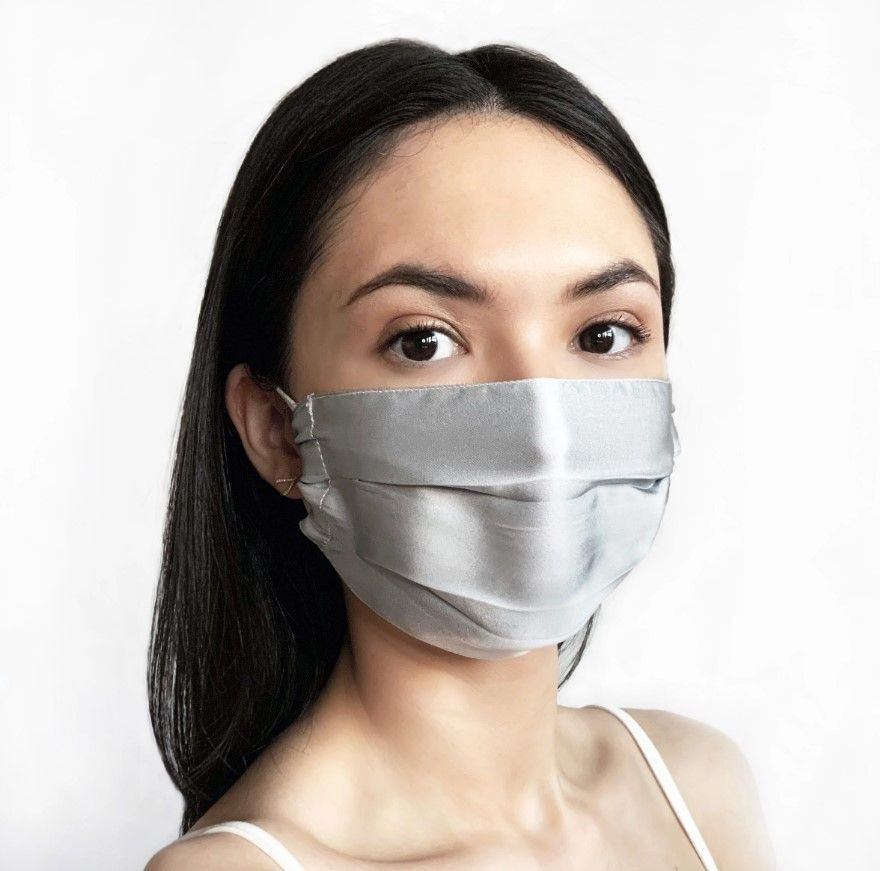Silk face mask - 100% mulberry silk silver grey