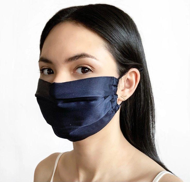 Silk face mask - 100% mulberry silk indigo blue