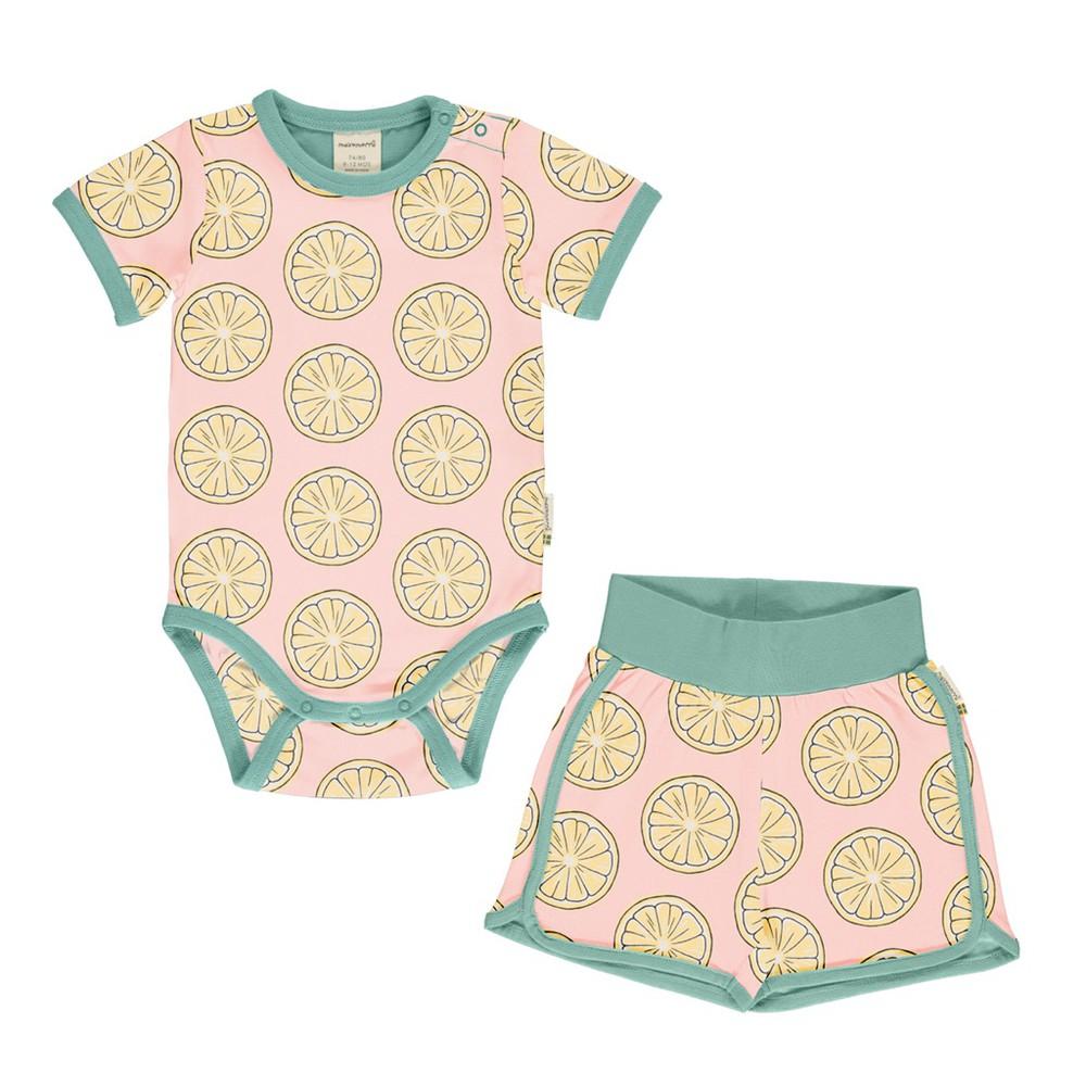 Set bebé - maxomorra - fresh lemon body short