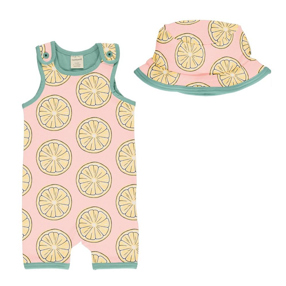 Set bebé - maxomorra - fresh lemon playsuit short