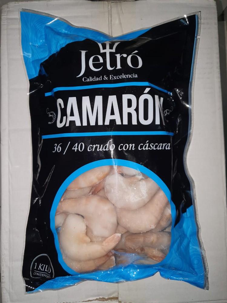 Camarón 36/40 Crudo con Cascara Bolsa de 1 Kg