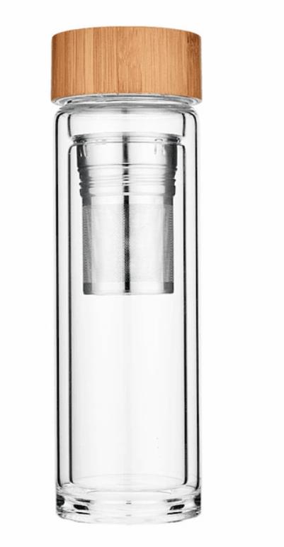 Botella térmica de borosilicato doble pared con 2 infusor 400 ml caja