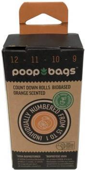 Poop bags 8 rollos 120 bolsas biodegradables aroma naranja 8 rollos de 15 bolsas c/u olor naranja