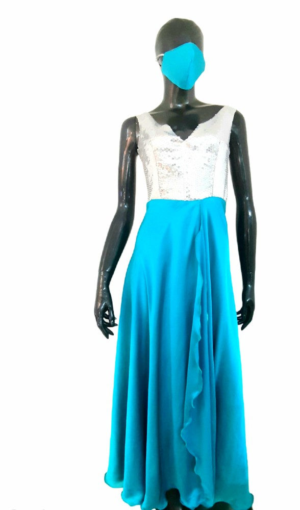 Vestido gala azul seda Talla M