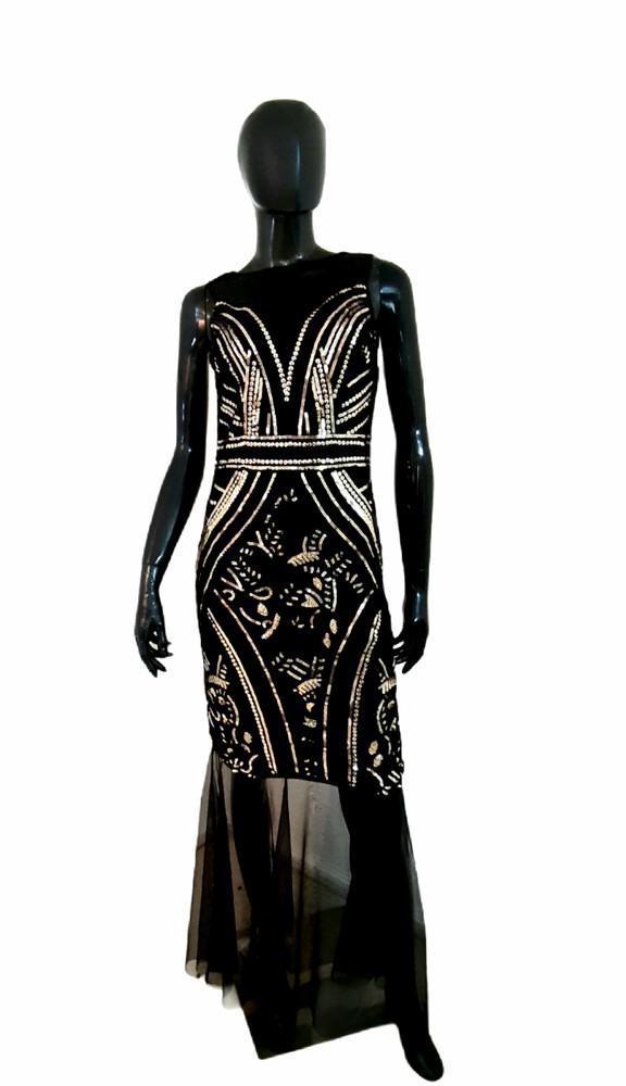 Vestido negro largo lentejuelas Talla M