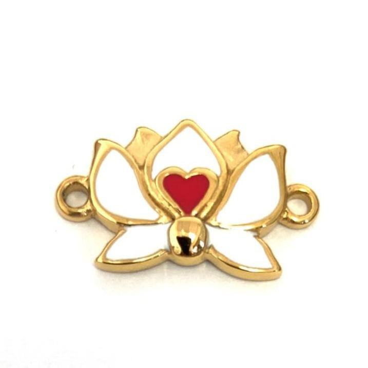 Gold plated steel enamel lotus flower connector PC