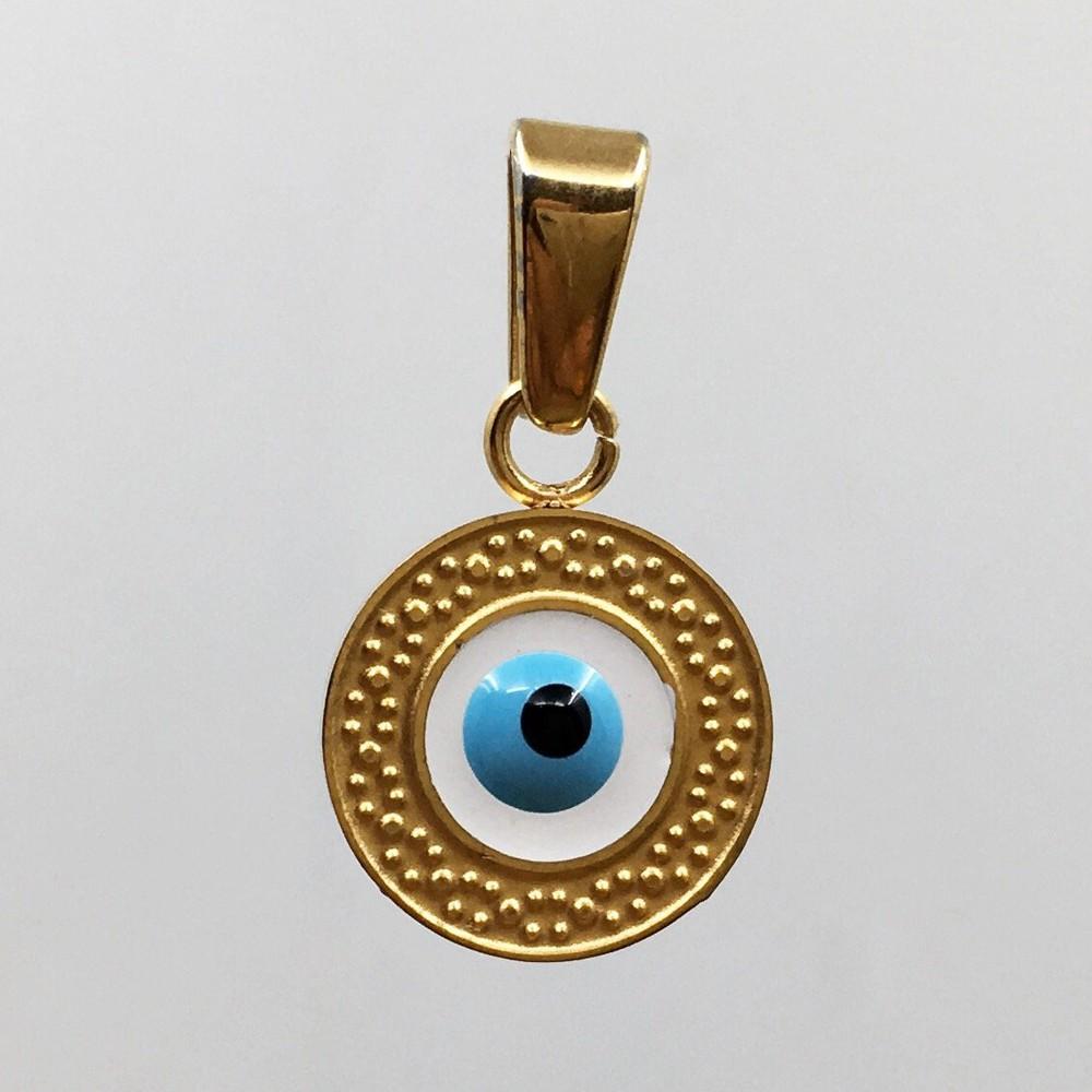 Round blue evil eye charm