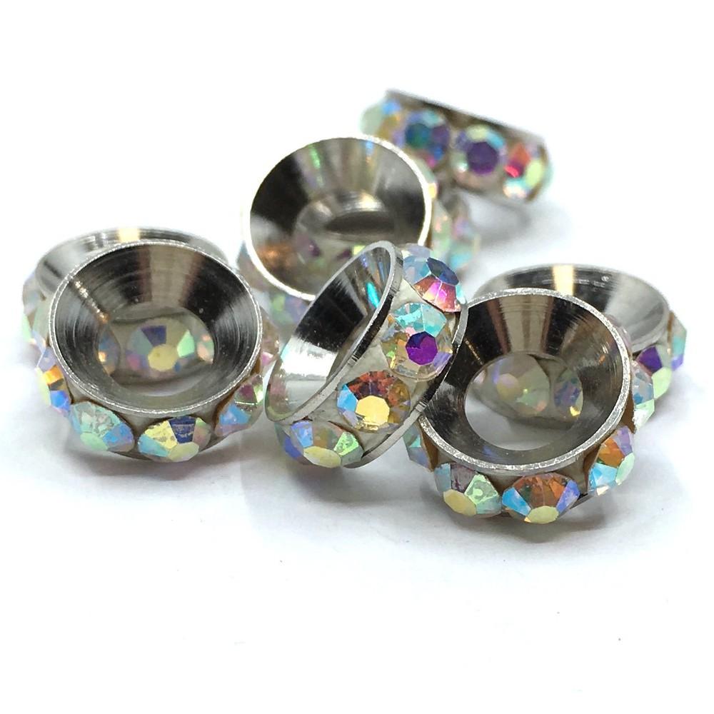Gunmetal round alloy rondelle beads PC