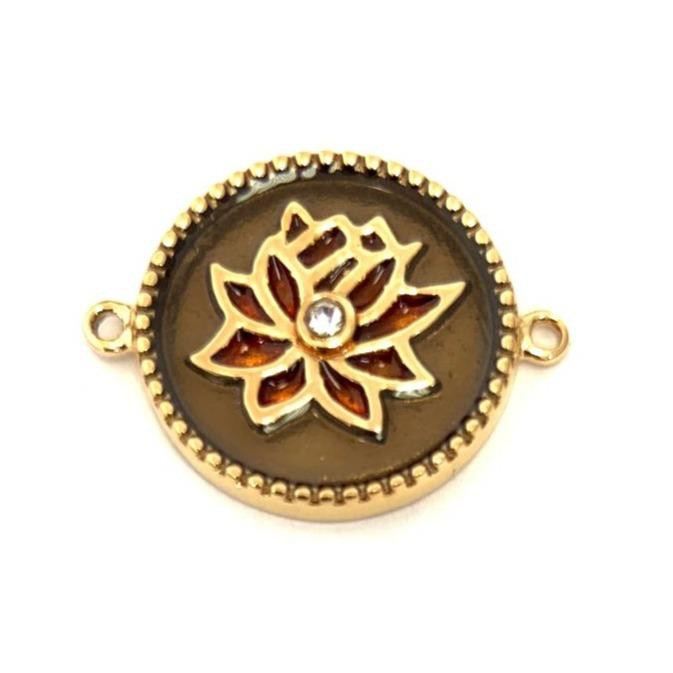 Gold plated steel lotus flower connector