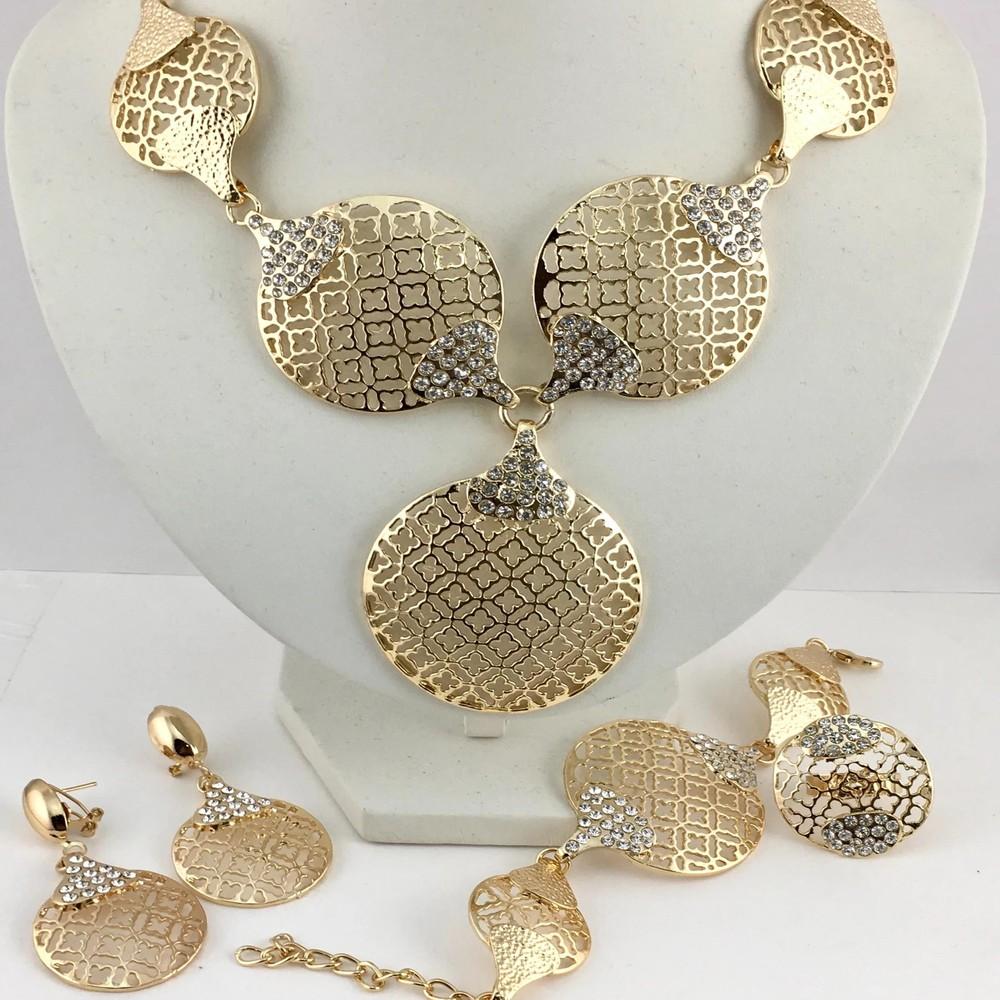 Open filigree clover flower gold plated necklace set