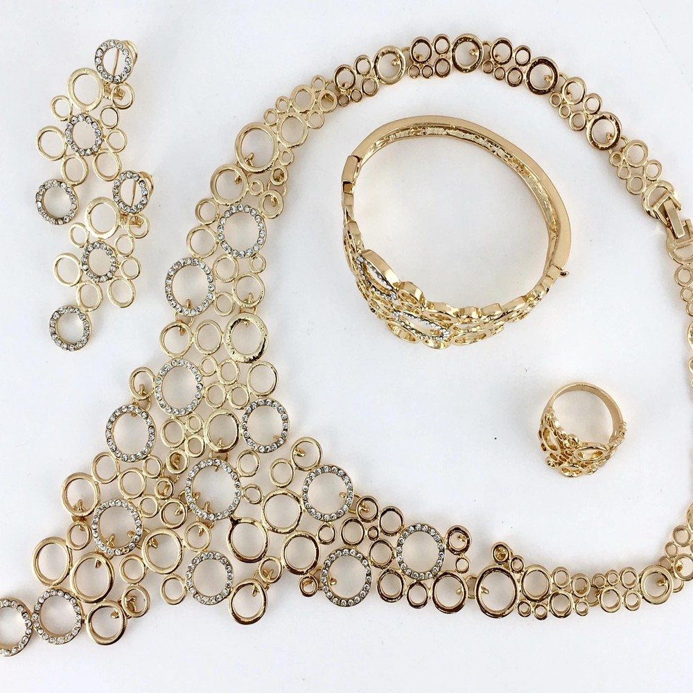 Linked circle clear stone gold plated necklace set