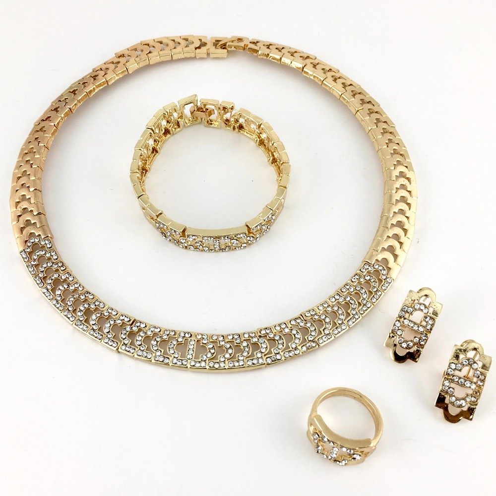 Gold tone clear stone necklace set