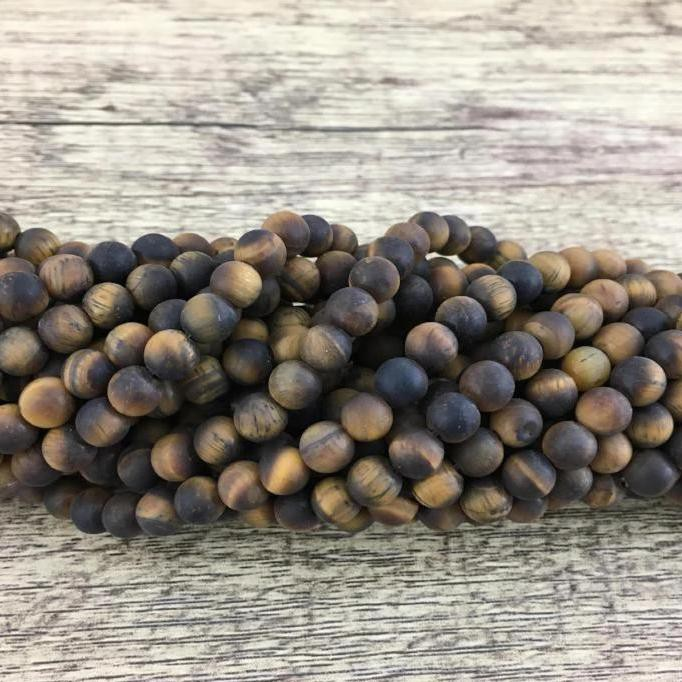 Frosted tiger eye bead