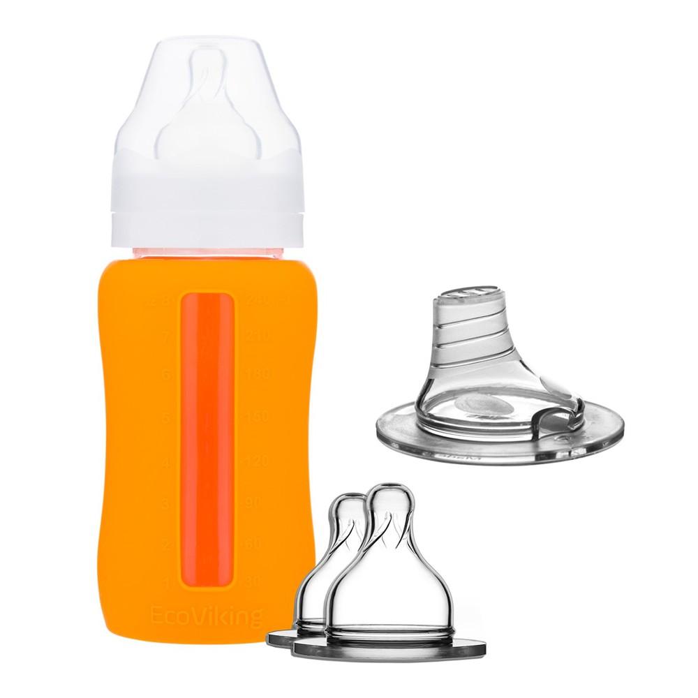 Set mamadera 240 ml. wn + boquilla + tetina silicona - ecoviking - orange