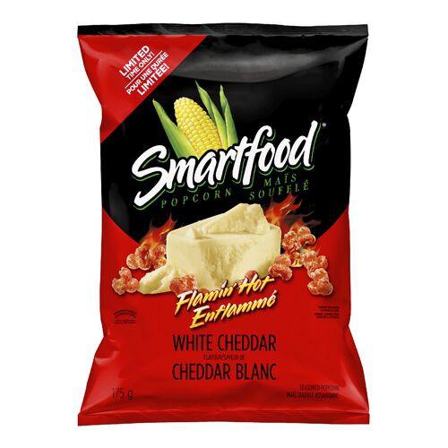 Flamin' hot white cheddar popcorn