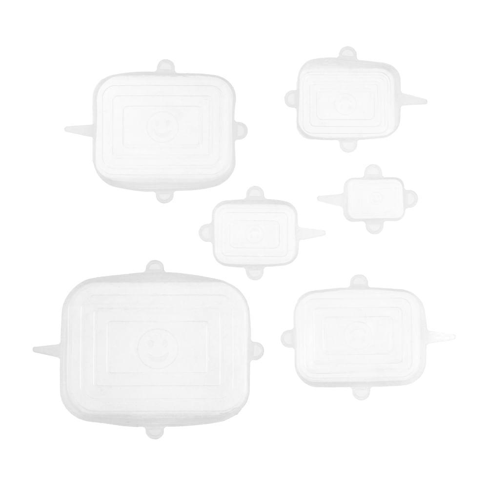 Set 6 tapas reutilizables silicona