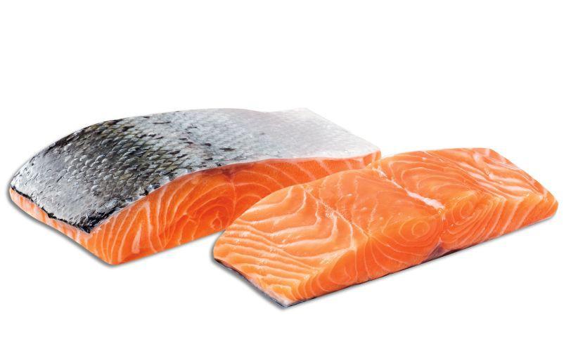 Salmón en porción con piel Entre 250 y 350 cada porción