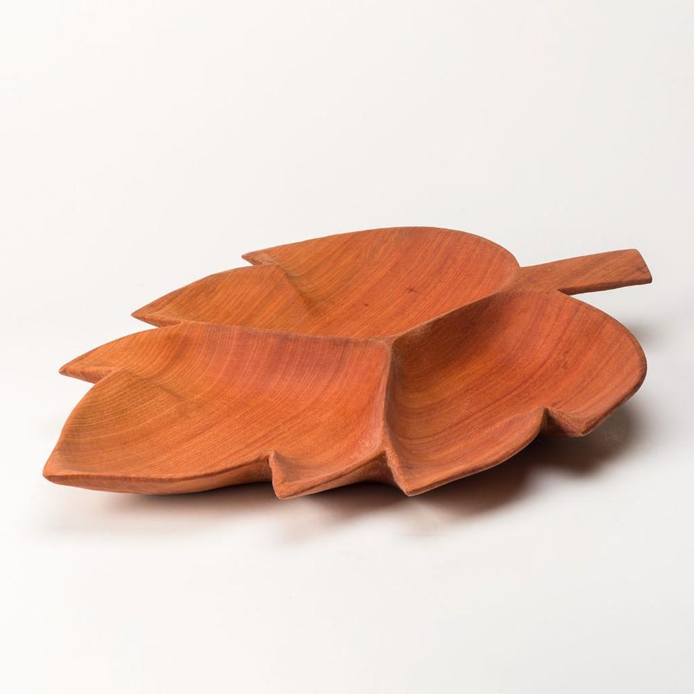 Fuente hoja de madera de raulí