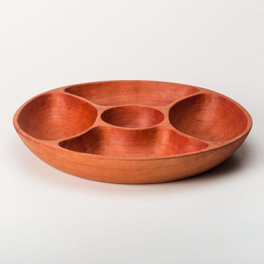 Fuente redonda con divisiones madera de raulí