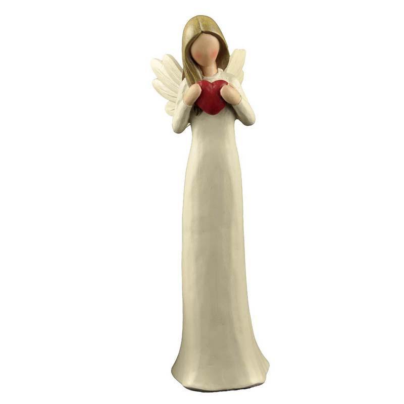 Angel con corazón rojo en la mano Medidas: Largo:19 cms / Ancho: 6 cms / Profundidad:5 cms   Peso: 100 grms