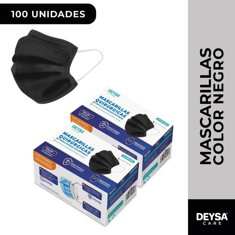 Mascarillas desechables 50 un 2 cajas (100 un). Color Negro 2 Display de 50 unidades c/u (100 un)