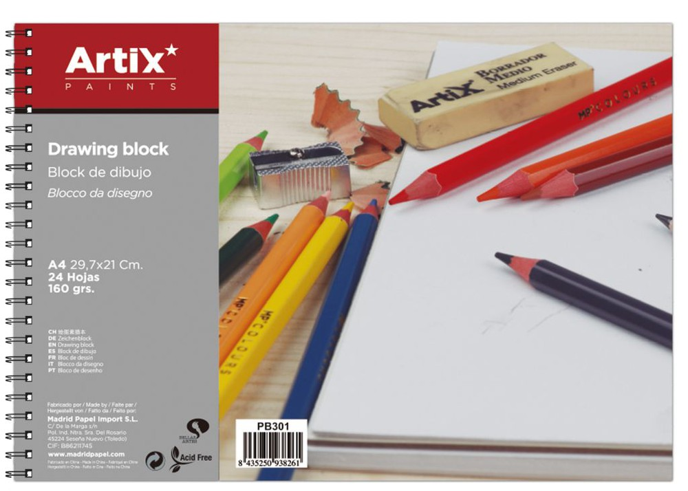 Block dibujo 21 x 29.7, 24 hjs 160 gms con espiral
