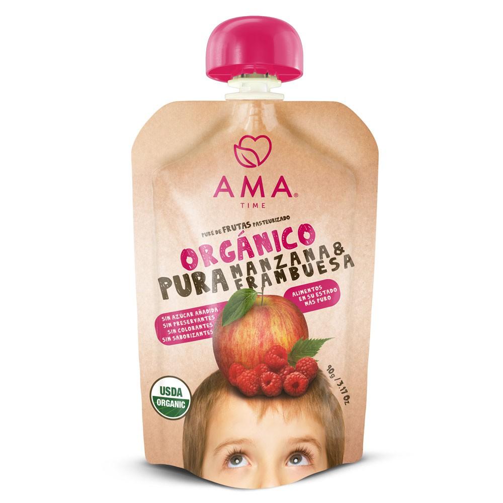 Puré de manzana y frambuesa orgánica 90 g
