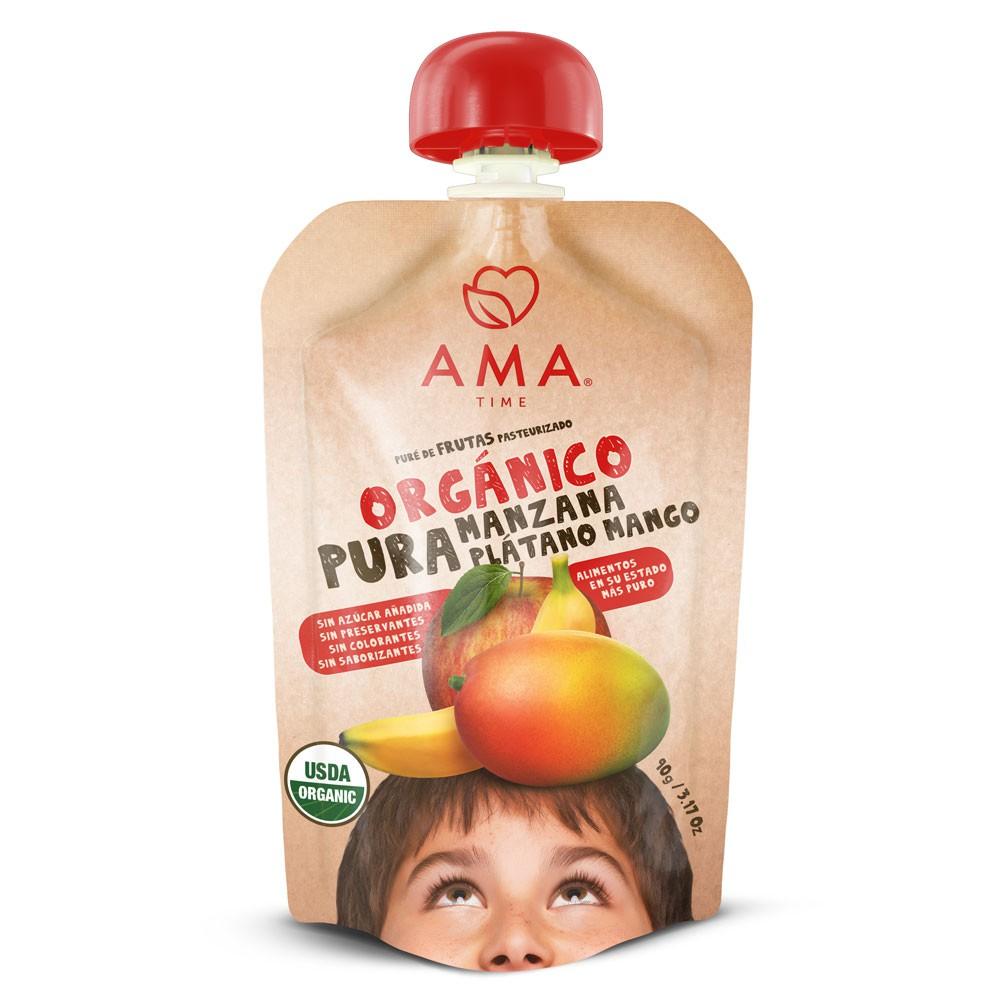 Puré de manzana, plátano y mango orgánico