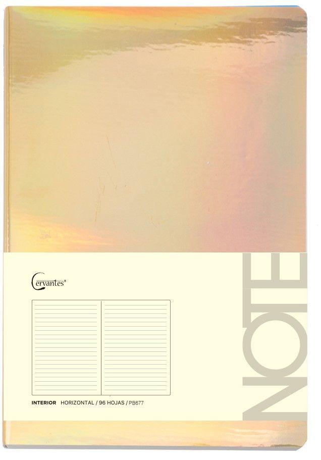 Cuaderno p/nota a5 dorado brillante 21.0 x14.5 cm x 80gr (mp)