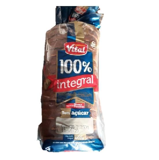 Pão 100% integral vital 400g