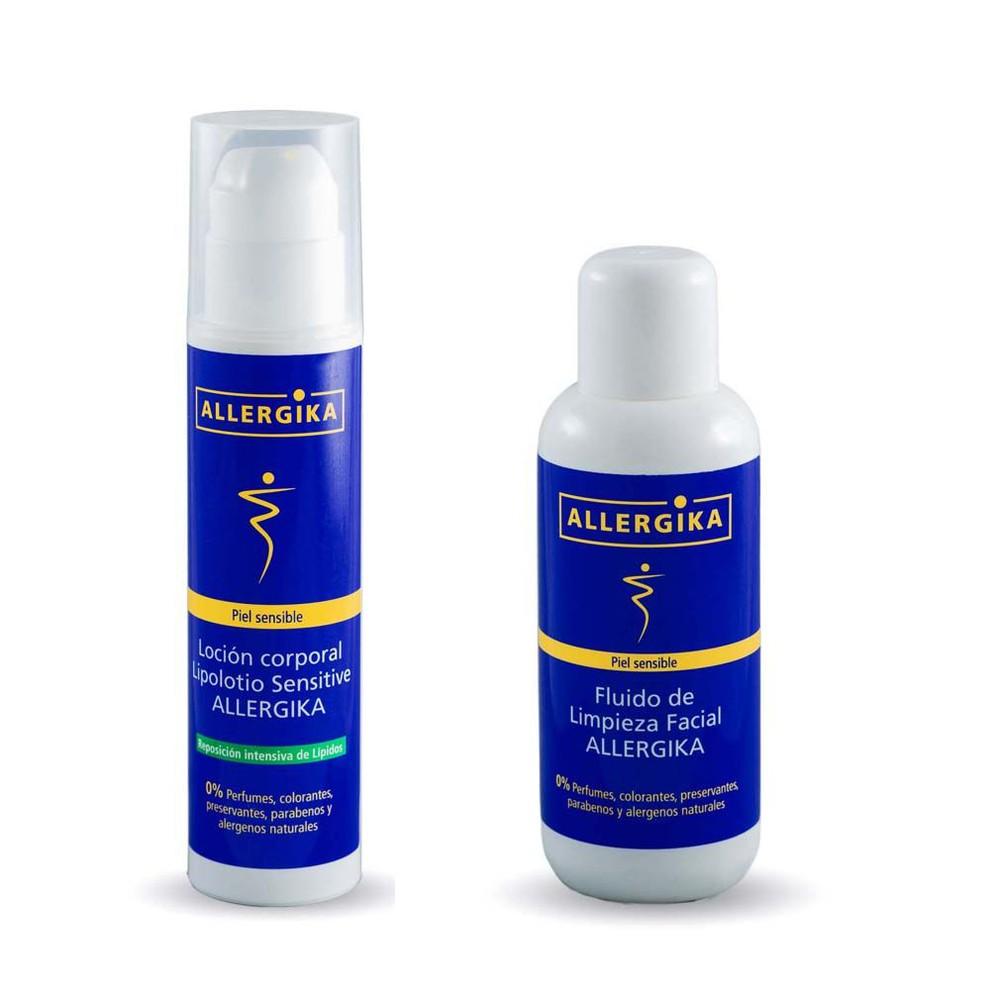 Pack prevención daño por mascarillas: fluido de limpieza facial + lipolotio sensitive