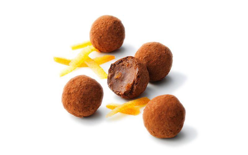 Mini trufa de chocolate com laranja
