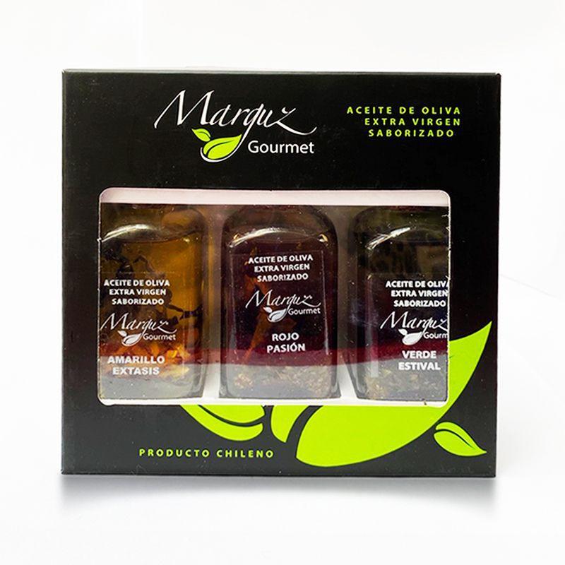 Triple pack aceites de oliva infusionados Frascos de vidrio de 50 cc