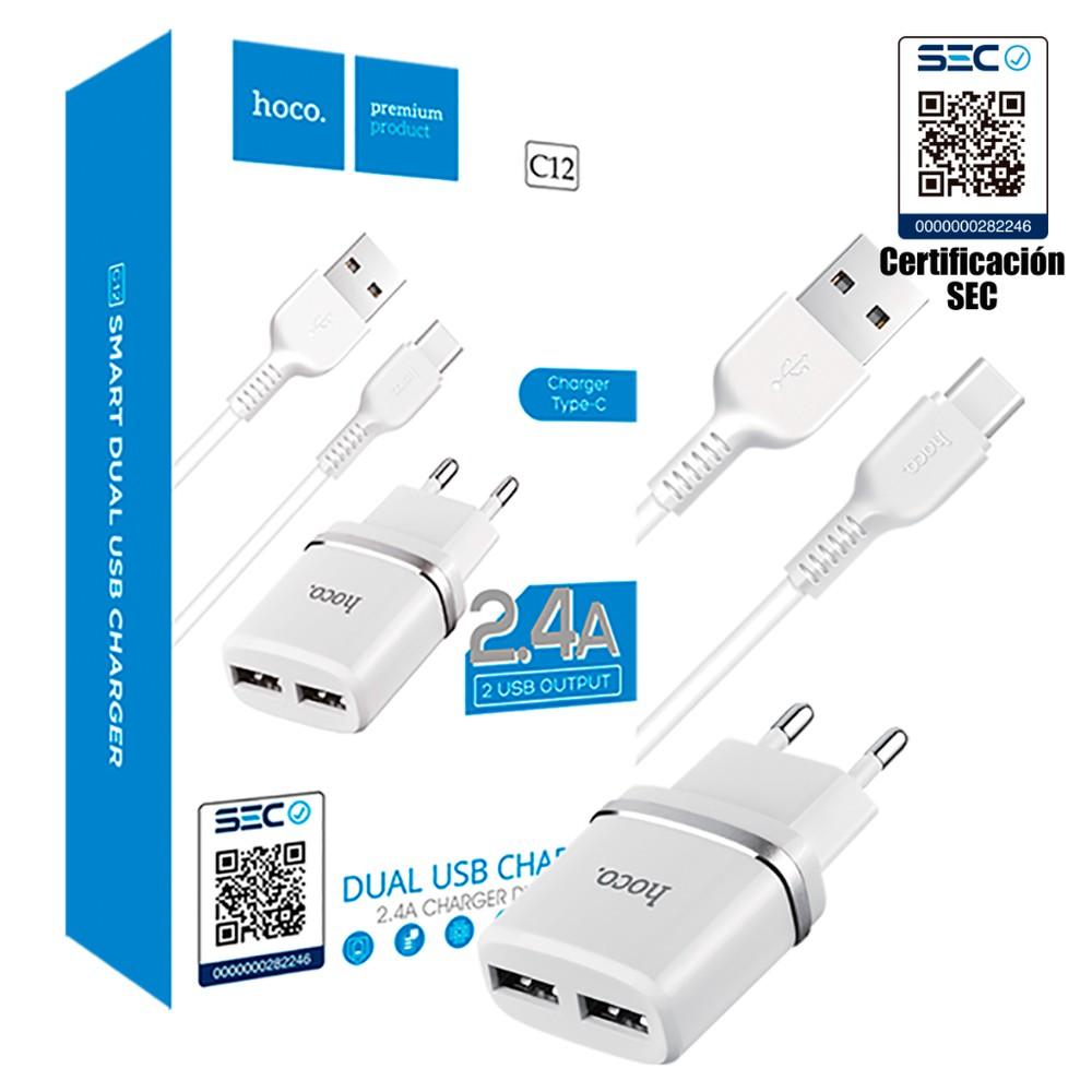 Home Charger / Cargador Certificado con cable tipo C para samsung huawei y motorola Dual home charger white certificado cargador auto/ cable tipo c para samsung huawei y motorola