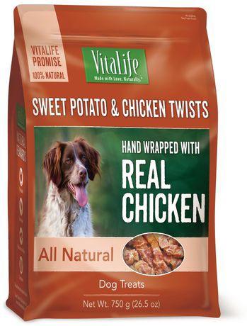 Dog treats sweet potato & chicken twists
