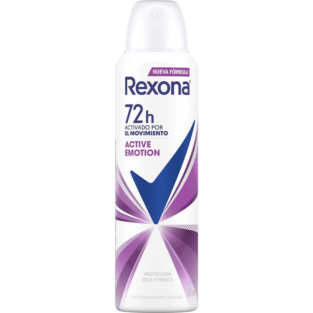 Antitranspirante Rexona motion sense active emotion en aerosol para dama 90 gr