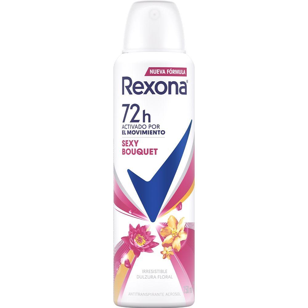 Antitranspirante Rexona motion sense sexy bouquet en aerosol para dama 90 gr
