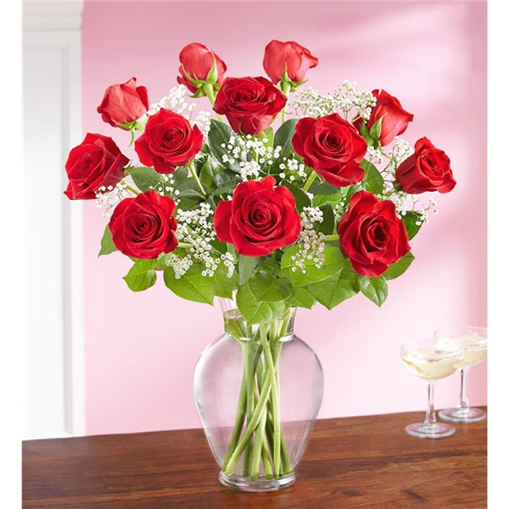 """Only for you long stem red roses 12-stem arrangement measures approximately 22""""""""H x 15""""""""W"""