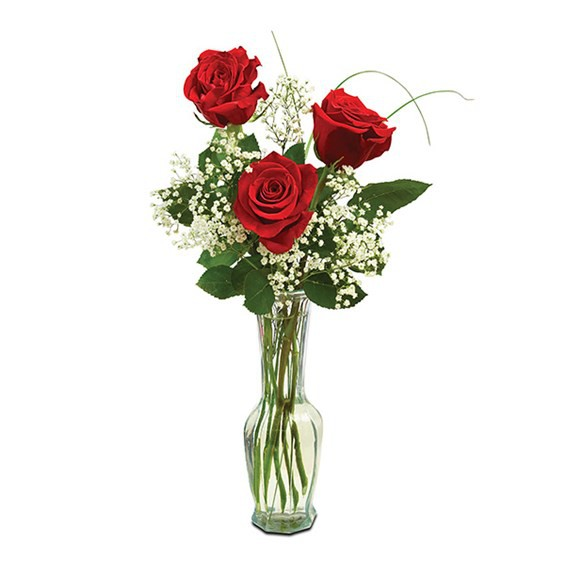 """Classic bud vase roses Measures 17""""H by 5""""L."""