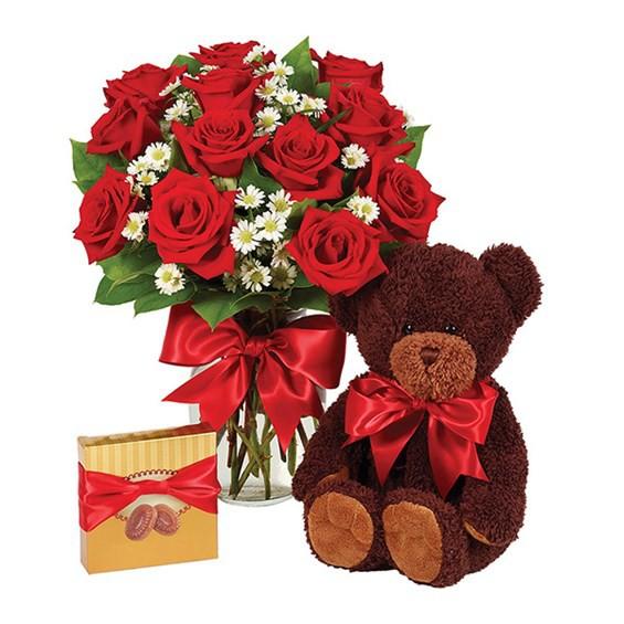 1 dozen roses - red bundle 1 Flower arrangement, 1 Teddy Bear and a box of Chocolates.