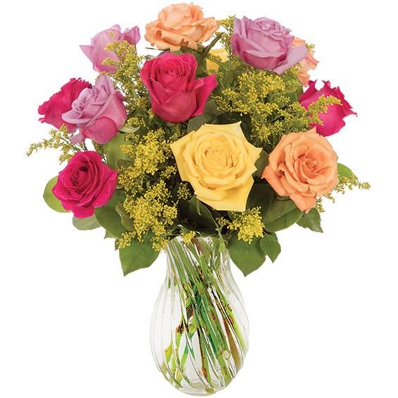 Multicolor bright rose bouquet 12-stem arrangement