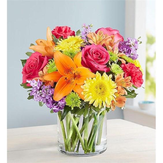 """Vibrant beauty™ bouquet Medium arrangement measures approximately 12""""H x 12""""W"""