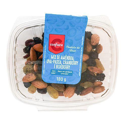 Mix de amêndoa, uva passa, cranberry e blueberry