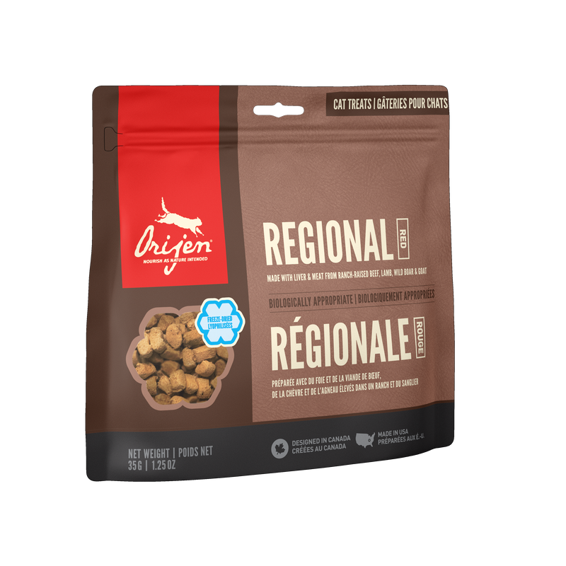 Freeze-dried treats regional red for cats