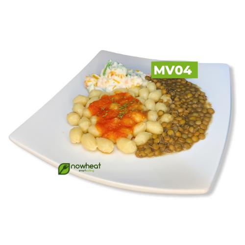 Mv04: nhoque de batata doce, lentilha, vegetais 400g