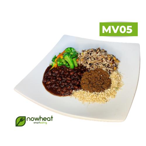 Mv05: feijão, arroz 7 grãos, hambúrguer de soja 400g